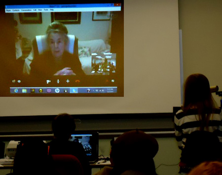 Skype conference with a group of middle and high school students