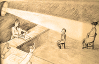 Drawing by Simone Arnold, 12, subjected to a grilling in Mulhouse (Alsace), March 1943